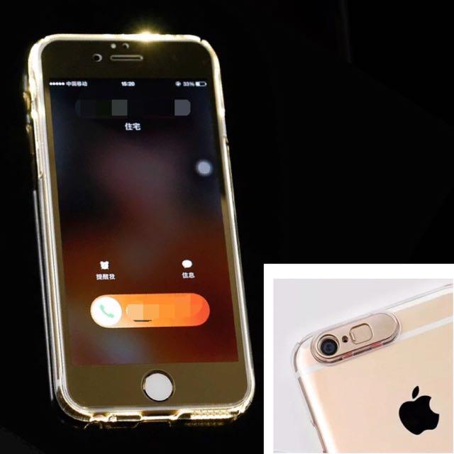 現貨✨發亮iphone手機殼✨兼具保護鏡頭