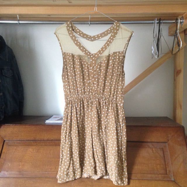 Mustard Polka Dot Dress Size 10