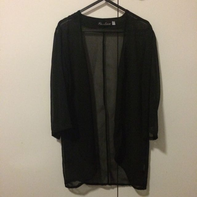 Sheer Black Cardigan / Kimono / Beach Cover Up
