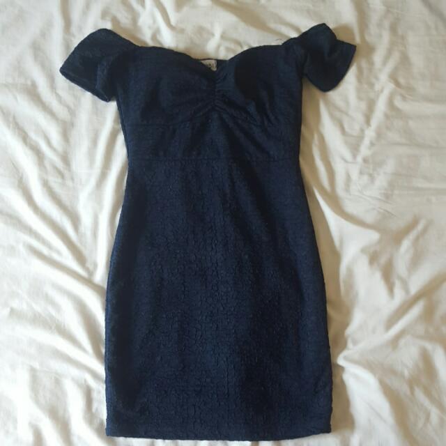 Tobi Off-shoulder Bodycon Mini Dress In Navy