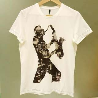 全新 BENETTON 男M 白色 城市T 短T 棉T T恤