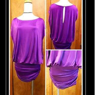 專櫃亮紫絲鍛彈性連身裙