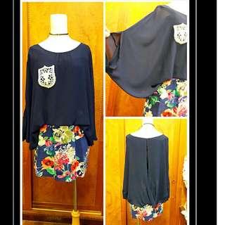 專櫃雪紡蝴蝶袖連身裙