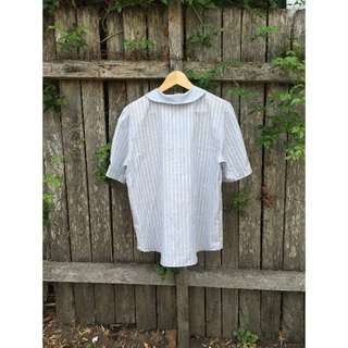 ‼️Vintage Striped White and Blue Shirt Embroidered