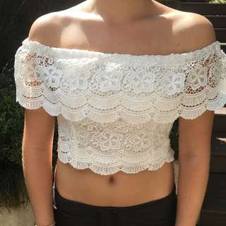 Pepper Mayo White Off the Shoulder Crop
