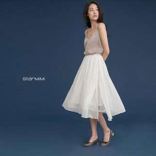 含運 starmimi 層次感內裡蕾絲側開衩氣質長裙