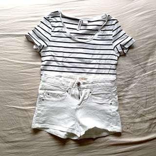 BERSHKA White Mid Waist Shorts