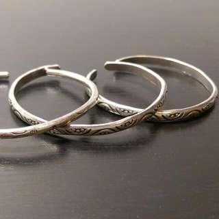 (待寄出)二手※純銀可調式手環