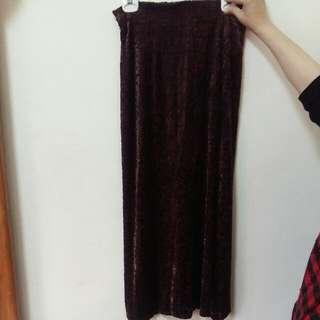 絨布花樣長裙
