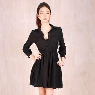 Orso Black Pleated Shirtdress