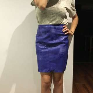 Faux Leather Electric Blue Skirt Size 8