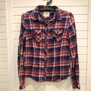 Lativ 藍紅格紋法蘭絨襯衫