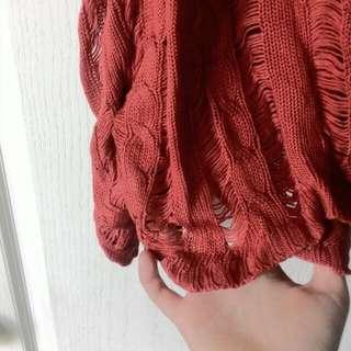 鏤空 針織 橘紅色罩衫
