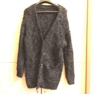 黑色毛海針織外套