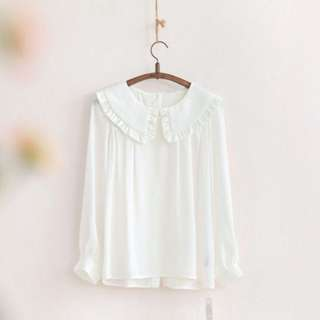 [BN] White Chiffon Long Blouse