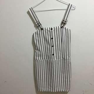 黑白直紋吊帶裙