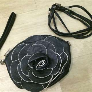 Mini Black Flower Wallet
