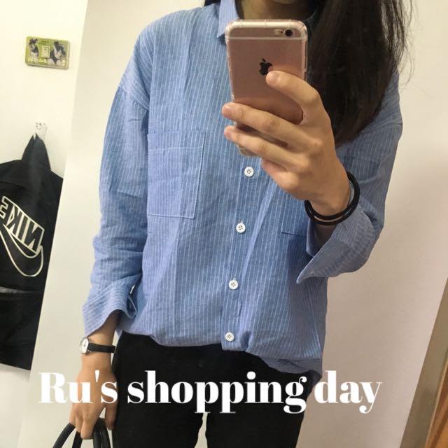 Ru's 藍白線圖襯衫