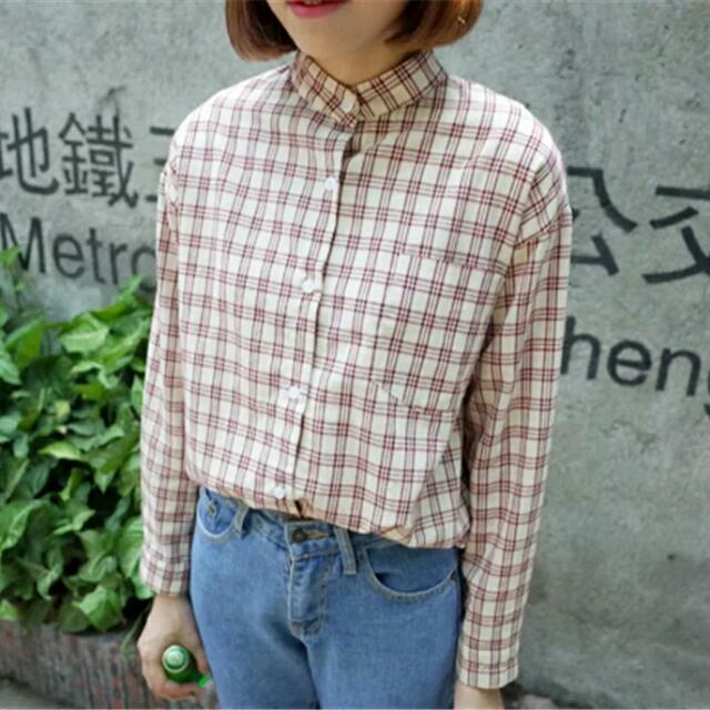 現貨一立領格紋襯衫/古著襯衫