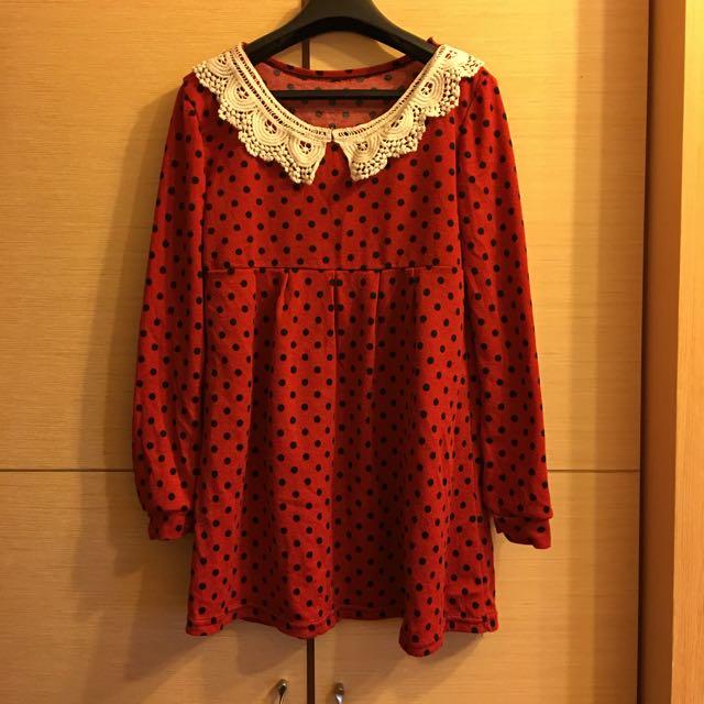 日系點點紅色上衣(洋裝)