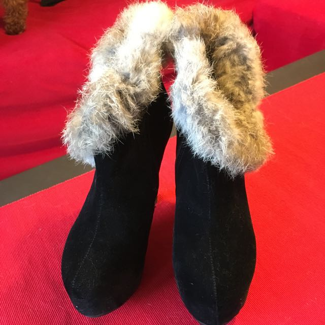 全新 韓國製 兔毛麂皮踝靴 36號