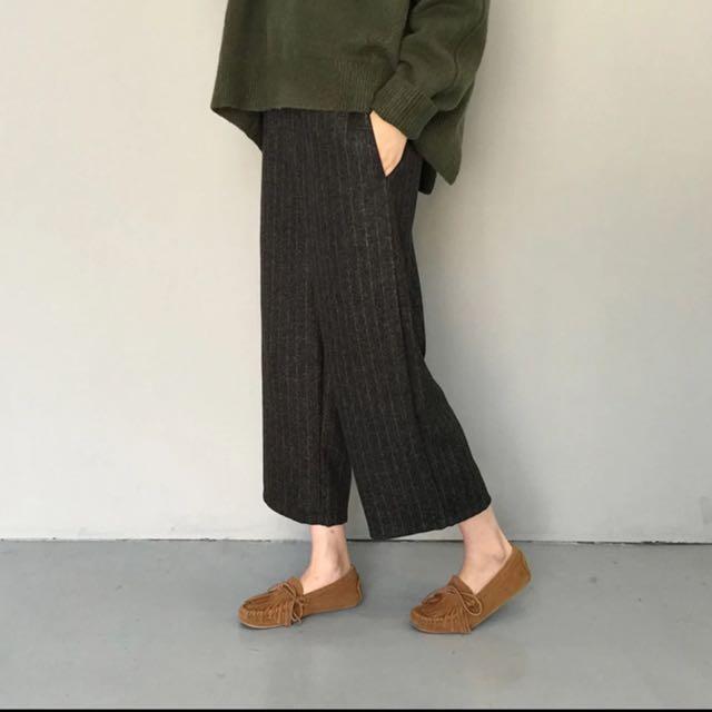 日系 條紋款 寬褲 質感厚實 很挺 降價出清