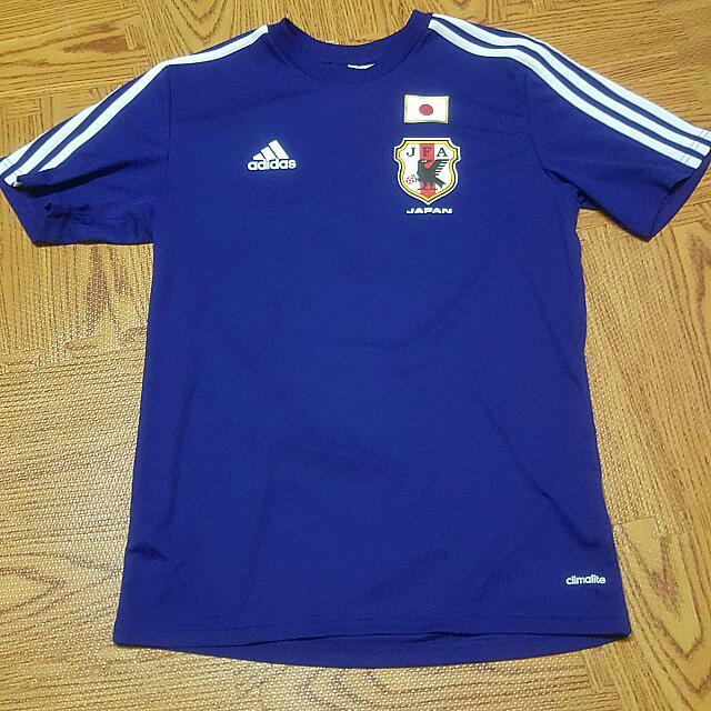 日本沖繩 ASHIBINAA outlet 入手 Adidas 日本國家隊足球 T恤 藍