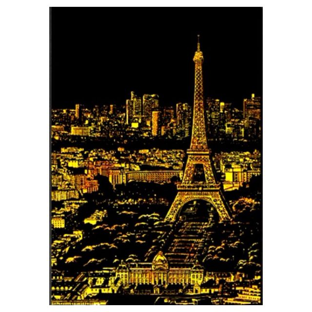 (A4規格,含2張夜景刮畫) 韓版創意金色夜景刮畫 - 巴黎+拉斯維加斯  (請先詢問數量)