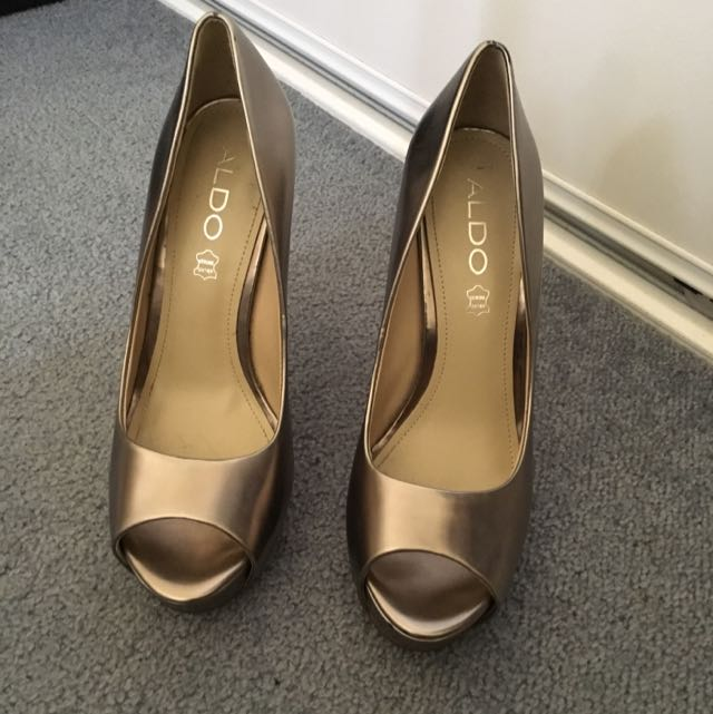 Aldo Peep Toe Chrome Heels