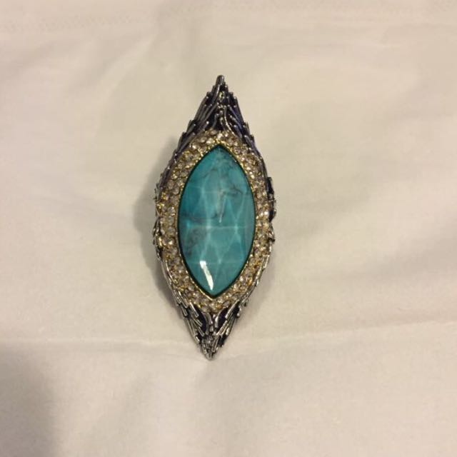 Alexis Bittar Crystal Encrusted Turquoise Doublet Feathered Ring