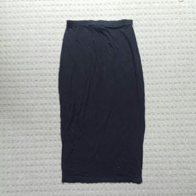 Boohoo Black Midi Skirt