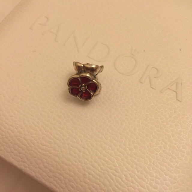 Red Flower Pandora Charm