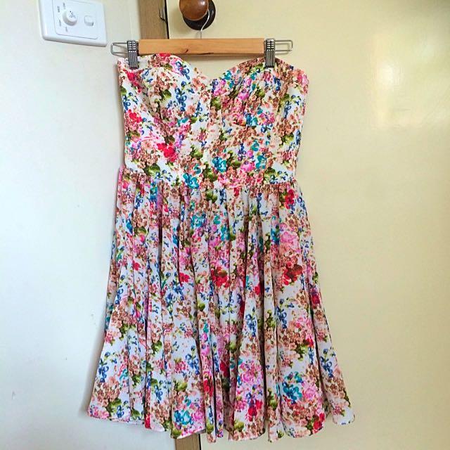 Sportsgirl Bustier Strapless Floral Dress