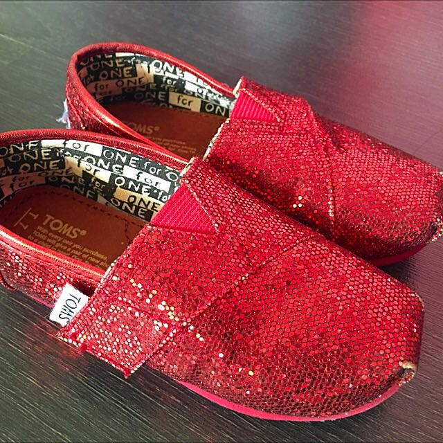 4987f1255d1 RESERVED  TOMS Red Glitter Shoes - Suitable for 2-3yo Girls