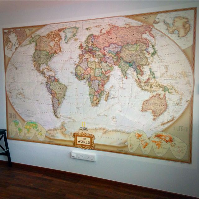 National Geographic World Map Murals.Wall Mural National Geographic World Map Furniture On Carousell
