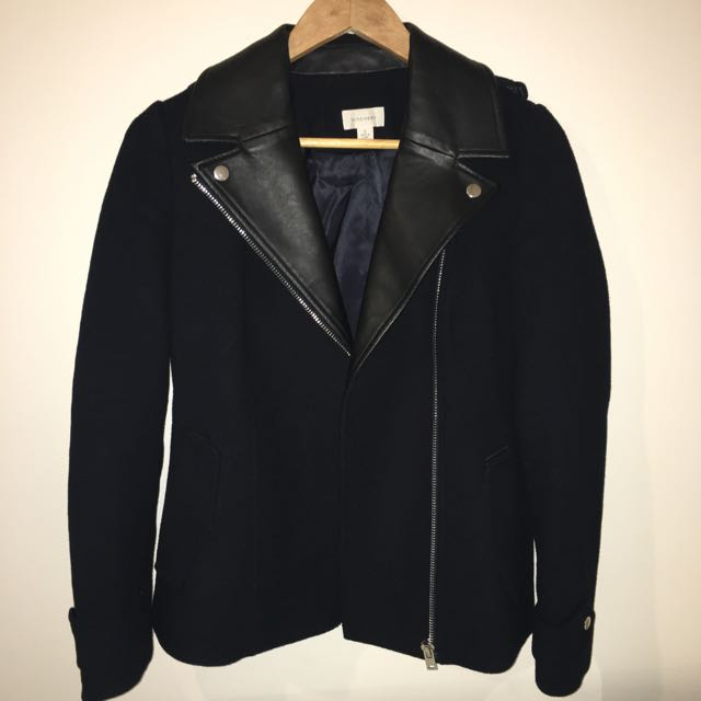 WITCHERY Navy Wool & Leather Jacket