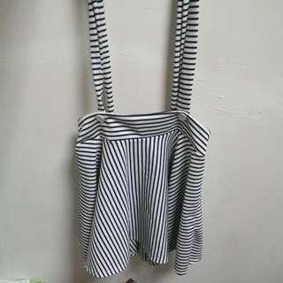 🚚 黑白條紋吊帶短裙