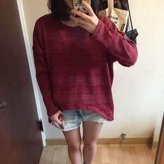 (免運)韓版針織上衣 酒紅 上衣