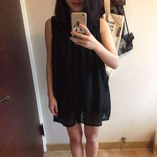 (免運)雪紡紗復古洋裝 上衣 黑 復古 洋裝