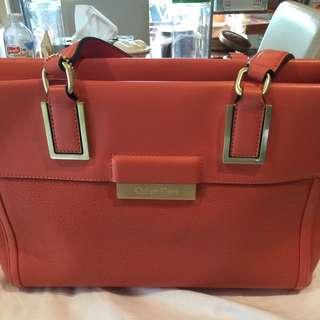 Authentic Calvin Klein Orange Leather  Handbag