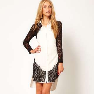 ASOS shirt Dress With Lace Insert
