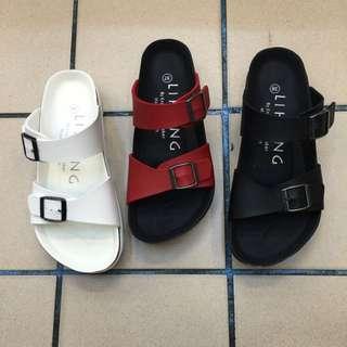 厚底兩條帶 涼拖鞋