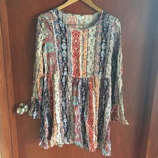 Boho Mini Dress Size 8