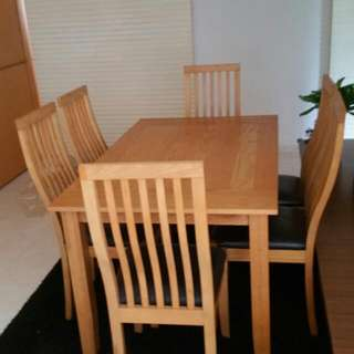 Lliberg Hard Pine Wood Table + 6 Chairs Very Good Condition. Free Delivery