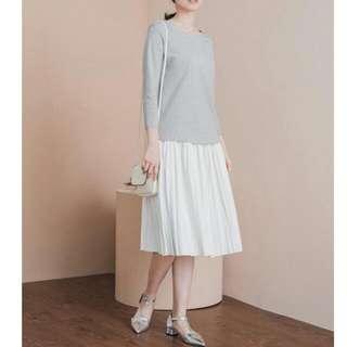含運 starmimi氣質白色皮質百褶裙 百折 百摺 細褶 半身裙 長裙
