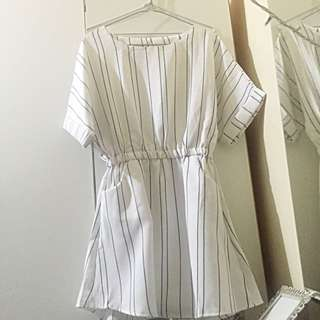 Cute white striped dress with pockets