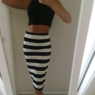 Striped Midi Pencil Skirt