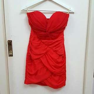 NEW Bardot Strapless Crossover Mini Dress Size 8