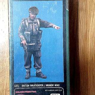 QUICK SALE - $25 - 1/15 Scale Original And Rare. 120mm British Paratrooper WWII.Velinden Resin Figure Model Kit. (Revised)