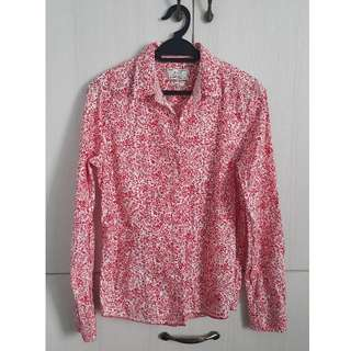 White with red flowery pattern long sleeves top
